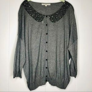 Ann Taylor LOFT Sweater with Embellished Neckline